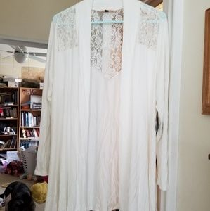 E.Adeline lace detail cardigan, off-white, 1X